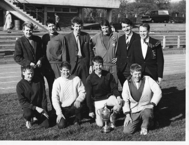 Winning team photo: Back row: Donald Burr (team manager), John Turnbull, A.N.Other, Peter Burgess, Tony Hogarth, Mike Bathgate. Front row: Tommy Tait, Stewart Seale, Adrian Weatherhead, Robin Morris.